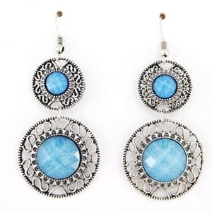 Turquoise Blue Jeweled Dangle Earrings